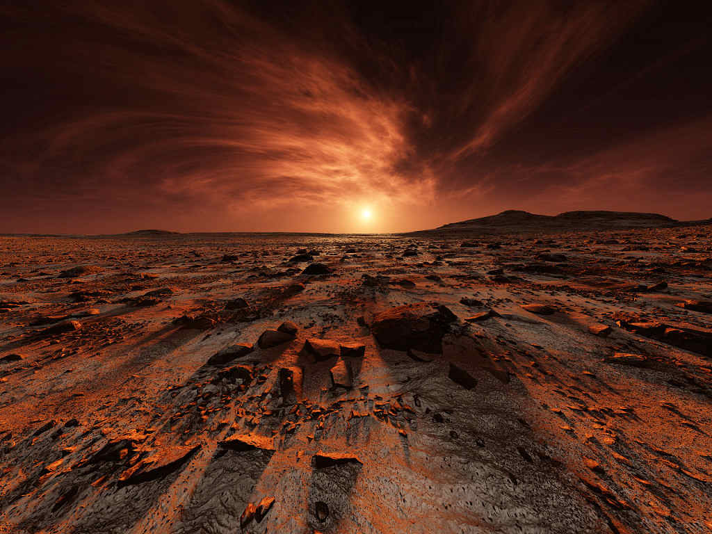 An artistic rendition of a Martian Lanscape by digital artist and cinematographer Kees Veenenbos.  http://www.imdb.com/name/nm3258073/